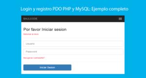 Login y registro PDO PHP y MySQL Ejemplo completo