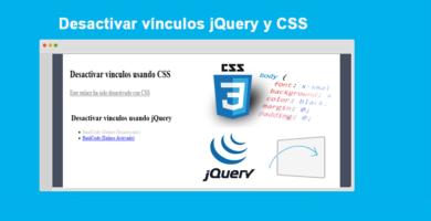 Desactivar vínculos jQuery y CSS Ejemplos Completos